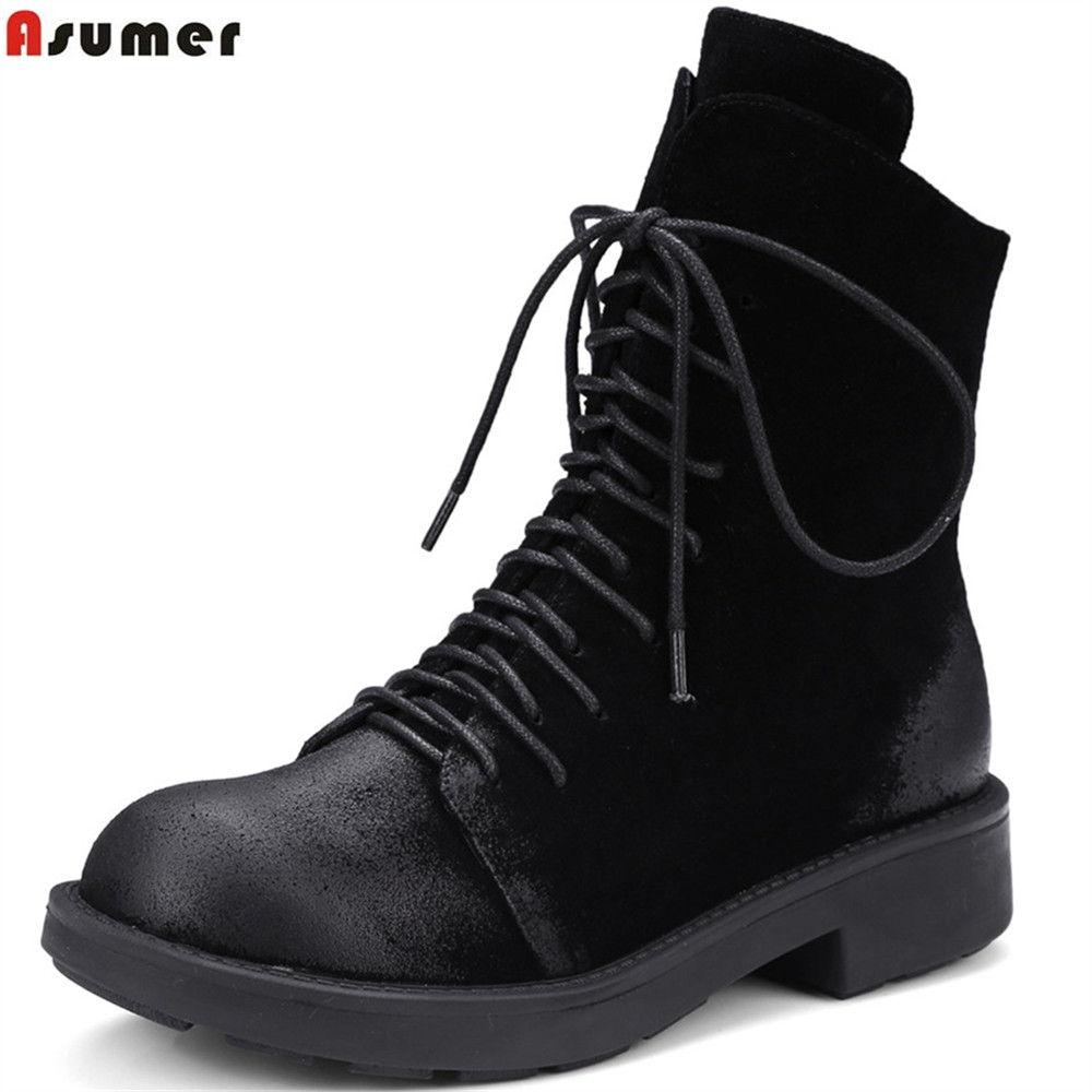 Asumer black autumn women boots round toe zipper cow suede ladies boots fashion cross tied square heel leather ankle boots arya 4 cherry 1025577