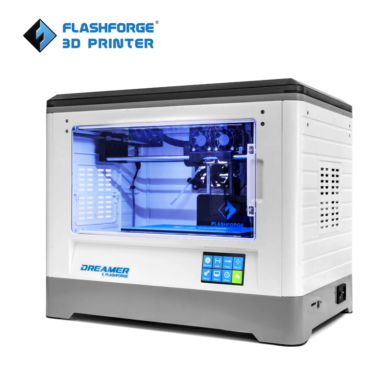 Flashforge 3D Printer 2018 FDM Dreamer Dual warna cetak WIFI dan skrin sentuh W / 2 Spool Fully Assembled 3D Drucker