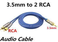 1m 2m 3m 3 5mm Jack To 2 RCA Stereo Audio Cable Male To Male For