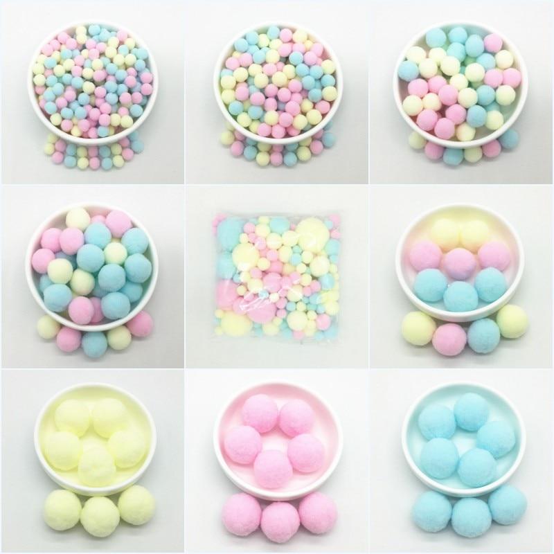 Light Yellow Pink Blue Pompom Fur Balls DIY Soft Pom Poms Craft Pompones Wedding Decor Glue On Cloth Accessories 8mm To 30mm 20g