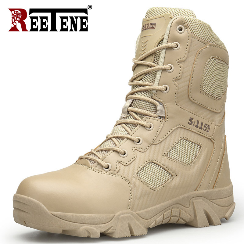 REETENE Big Size Shoes Men'S Outdoor Military Desert Boots High Quality Army Special Combat Men  Shoes Men Military Boots
