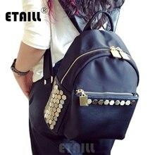 Водонепроницаемый Черный шипованных Рюкзак Школа славится рюкзак брендов высокое качество роскошные Mochilas mujer 2016 escolares Moda Marca