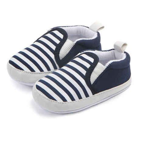 2018 חדש Pram יילוד פעוט תינוק בנות בני ילדים תינוקות ראשון הליכונים פסים קלאסי נעליים מזדמנים רך נעלי SS 45