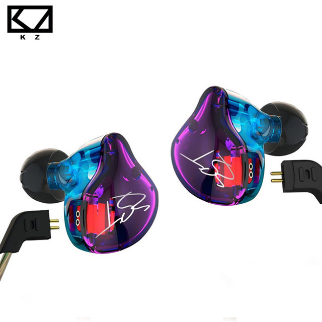 Kz zst pro armadura de doble aislamiento de ruido auriculares controlador de cable desmontable en oreja monitores de audio hifi música auriculares deportivos