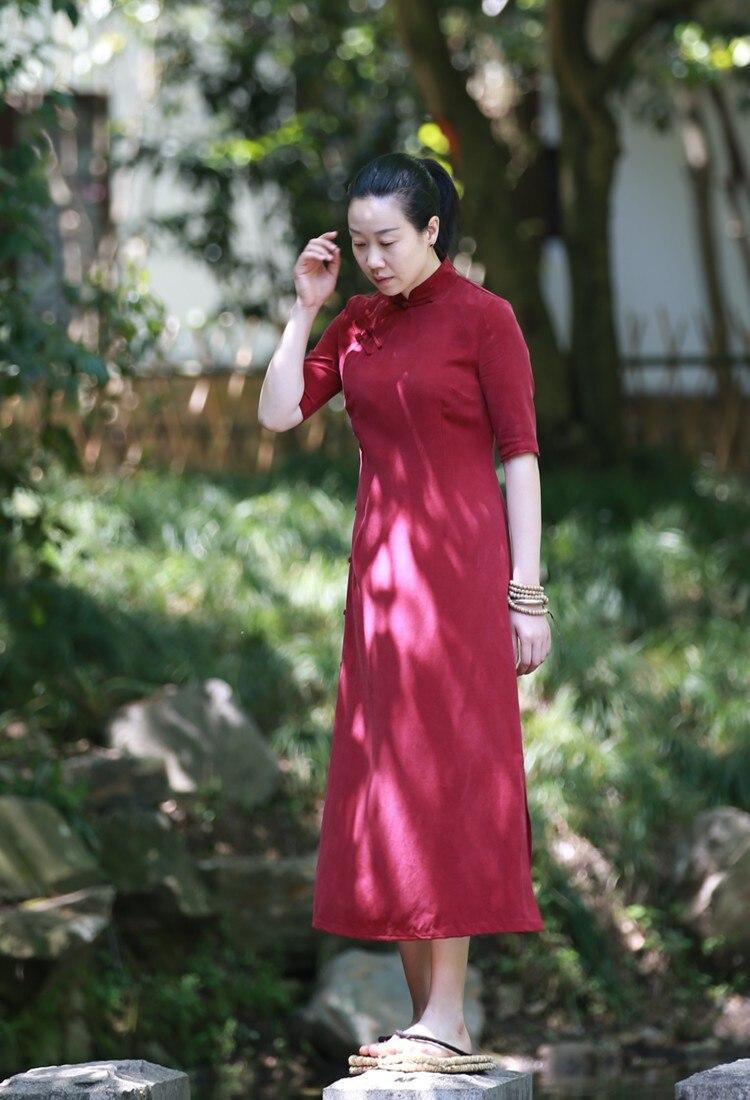 D075 Soie Rouge Vin 2018 Cheongsam Wine Rétro De D'ammoniac Mandarin Vêtements Femmes Robes Col Mince D'été Red L Cuivre Xl 0q0CT4w