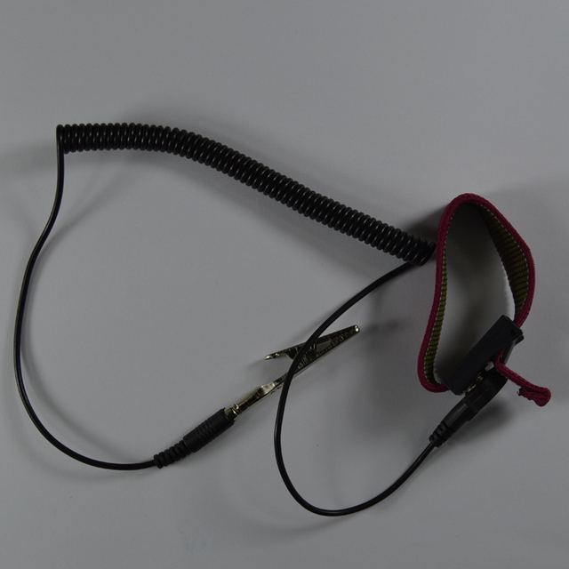 PU bezprzewodowy bezprzewodowy klips antystatyczne nadgarstek Esd pasek na nadgarstek rozładowania kable do elektryka IC PLCC pracownika kolor czerwony