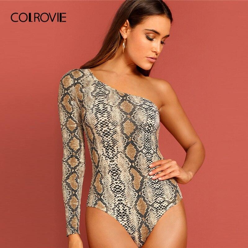 COLROVIE One Shoulder Snake Skin Print Skinny Sexy Bodysuit Women 2019 Spring Streetwear Long Sleeve Party Ladies Bodysuits