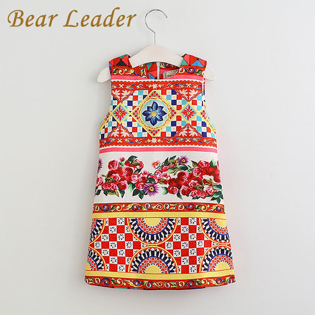 Bear Leader 2017 New Girls Dress Summer Kids Clothes Children Clothing Brand Character Pattern Sleeveless Baby Girls Dress Party