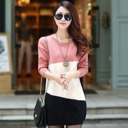 Suéter largo  de invierno nueva gran tamaño de la mujer del suéter de cobertura