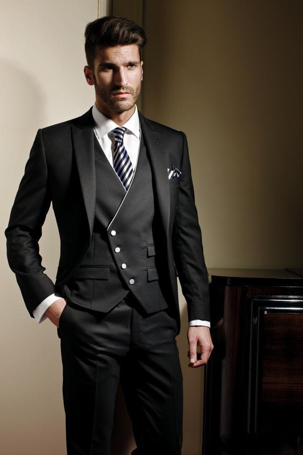 (Jacket+Pants+Tie+Vest)2019 Custom Slim Fit One Button Black Groom Tuxedos Peak Lapel Groomsmen Wedding Suits For Men Tuxedo