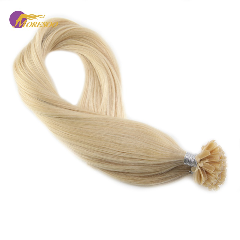 Moresoo Keratin Human Hair Extensions Color #613 Bleach Blonde Remy U-tip Nail Tip Hair Extensions Pre Bonde Hair 1g/1g 50G