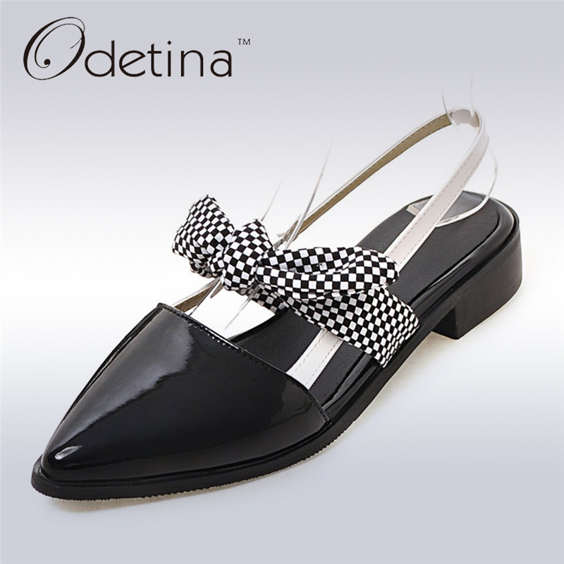 Odetina 2017 Elegant Summer Shoes Womens Chunky Heel Sandals Bow Back Strap Pointed Toe Slingback Sandals Low Heel Pumps Bowknot цена 2017