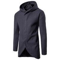 2017 Zwarte hooded mannen Geul lange dunne paragraaf vest geul Grijs mode jas hoodie Grote werven brede kap shirt voor mannen z30