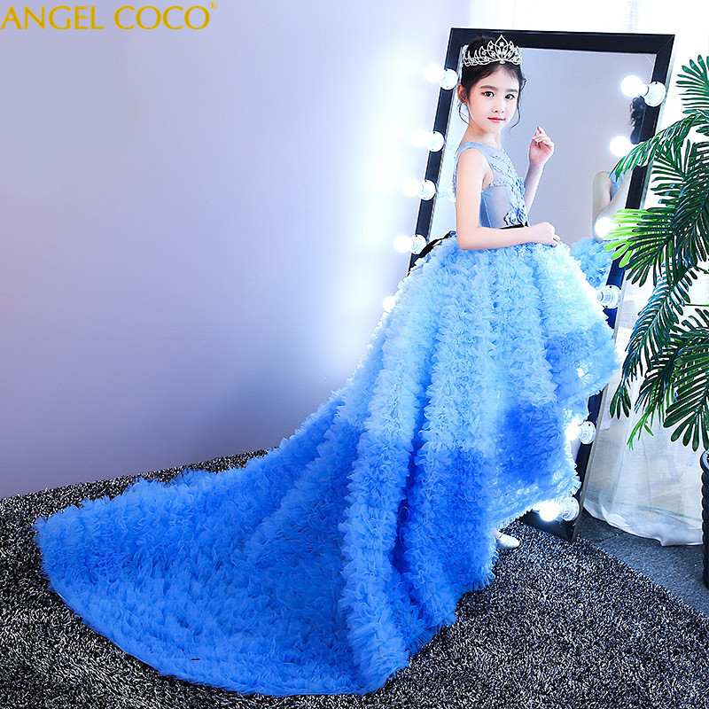 Can be customized 2018 new girls dress princess dress children party wear lace veil flower girl wedding dress baby girls dress 2016 summer fashion dresses of the girls beautiful female baby lace dress can be customized factory price direct selling
