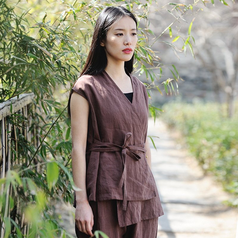 Beautiful Blouse Original Chinese Style Womens Wear Literature Retro Irregularity Frenulum Simple Sackcloth Female Shirts N229 Women's Clothing