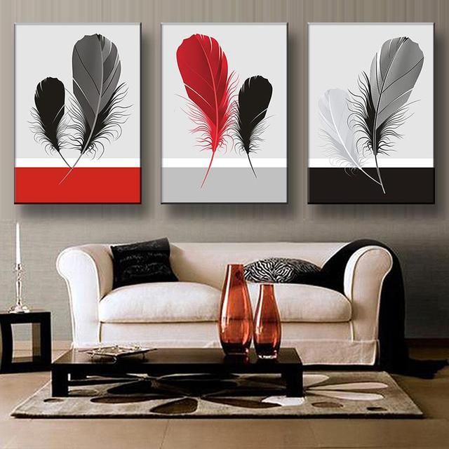 3 Pcs Set Still Life Feathers Artist Prints Painting On Canvas Modern Minimalism Black Red