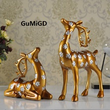 European resin  handicrafts and American style furniture standing deer lying Home Furnishing decoration