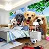 3D Wallpaper Cute Cartoon Lawn Dog Animal Photo Wall Murals Children Kids Bedroom Backdrop Wall Home Decor Papier Peint Enfant 2