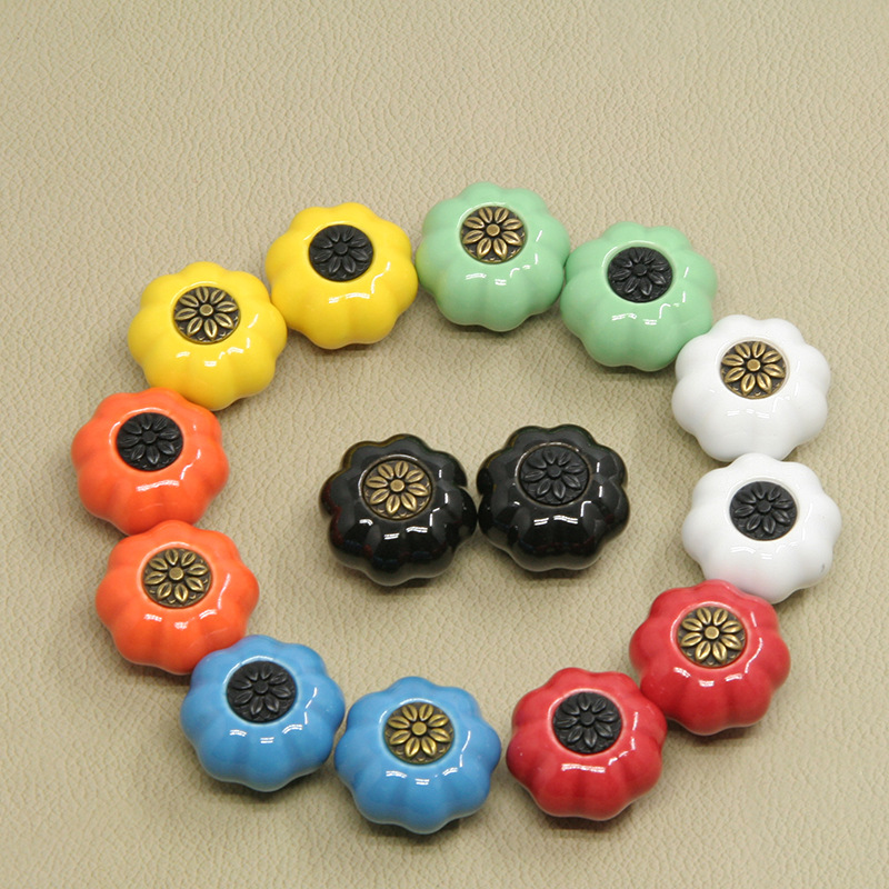1pcs Vintage Pastoralism Pumpkin Ceramic Knob, Kitchen Ceramic Door Cabinets Cupboard Single Hole Pull Handles With Screws 10pcs kitchen furniture pull pumpkin shape pastoralism ceramic knob various color single hole knobdrawer knob dia 40mm