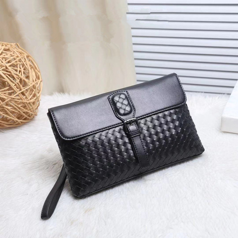 Kaisiludi leather men's bag hands woven men's and women's universal envelope large capacity hand grab bag leather fashion wrist