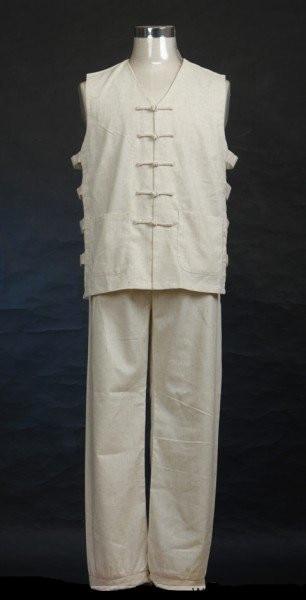 Beige New Handmade Chinese Men's Linen Shirt Pants Kung Fu Suit S M L XL XXL XXXL 2351-3