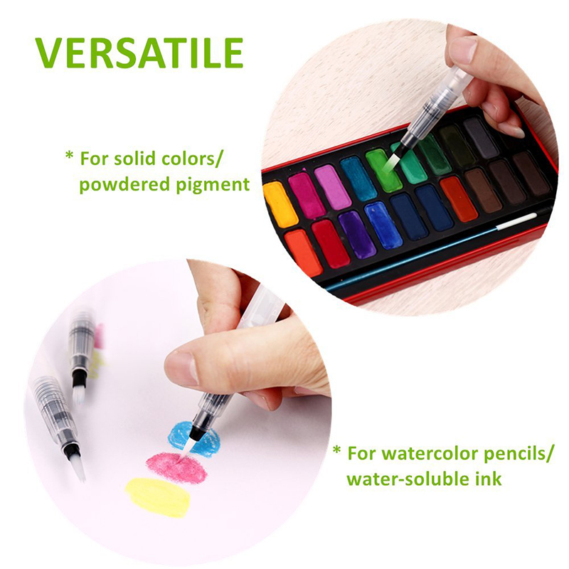 6Pcs Different Shape Large Capacity Barrel Water Soft PenWatercolor Painting Promotional Pen Calligraphy Drawing Art Supplies