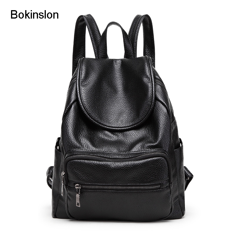 Bokinslon Backpack Bag Women Fashion Popular Women Backpack School Bag PU Leather College Wind Backpack Female
