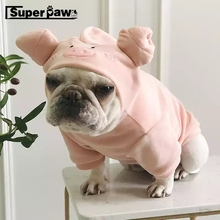 Funny French Bulldog Cute Pig Shape Velvet Hoodies Pet Dog Clothes for Small Dogs Pets Clothing Yorkshire Pug Costume ZZC03