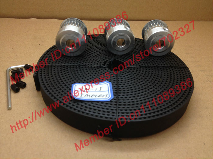 3pcs 24 teeth 3M Timing Pulley Bore 6.35mm + 5Meters HTD 3M timing belt Neoprenen width 15mm for laser engraving CNC machines