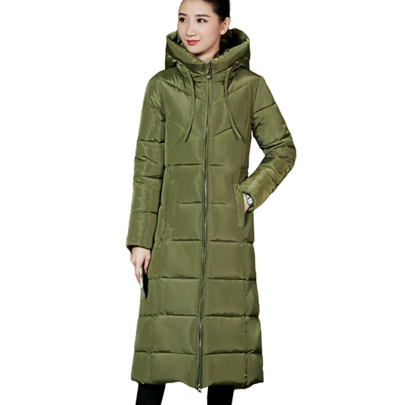 Super Warm Thick Plus Size 6XL Women Hooded Down   Parkas   Long Solid Winter Jacket Women Coat Female   Parka   Zipper Fashion 2019 New
