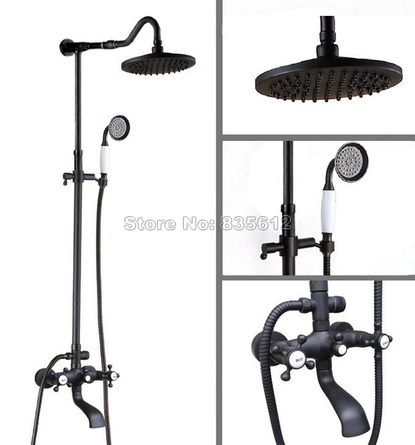 Black Oil Rubbed Bronze Wall Mounted Dual Handles/Round Shower Head Bathroom Rain Shower Faucet Set Bath Tub Mixer Tap Whg606