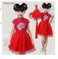 Año nuevo chino para niños rosa vestidos vestido rojo para las niñas princesa Dress niñas Casual vestido de partido lindo Infantis estilo chino
