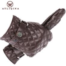 Atliqina leather gloves for men winter autumn fashion gloves sheepskin touch screen tartan wrist mitten top brand quality genuin