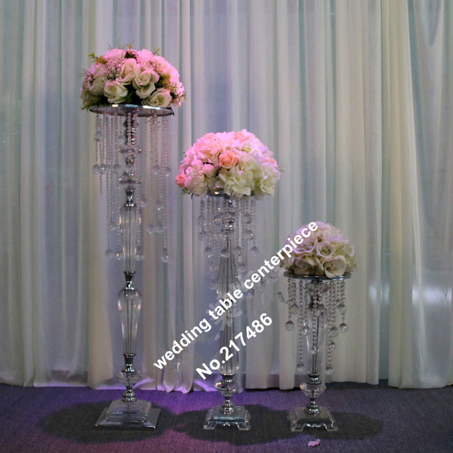 (only Chandelier)crystal Table Top Chandelier Wedding Table Centerpieces  Withwout The Flower And Flower