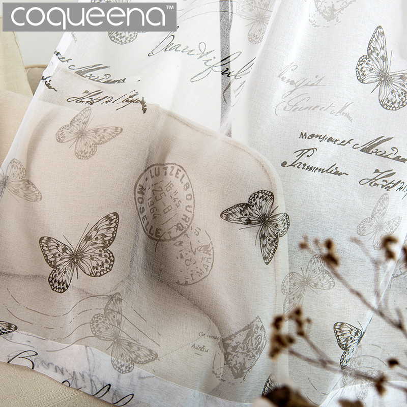 New Vintage Butterfly Sheer Curtains For Living Room Bedroom Kitchen Ready Made  Window Tulle Curtain Sheer Voile Curtains White