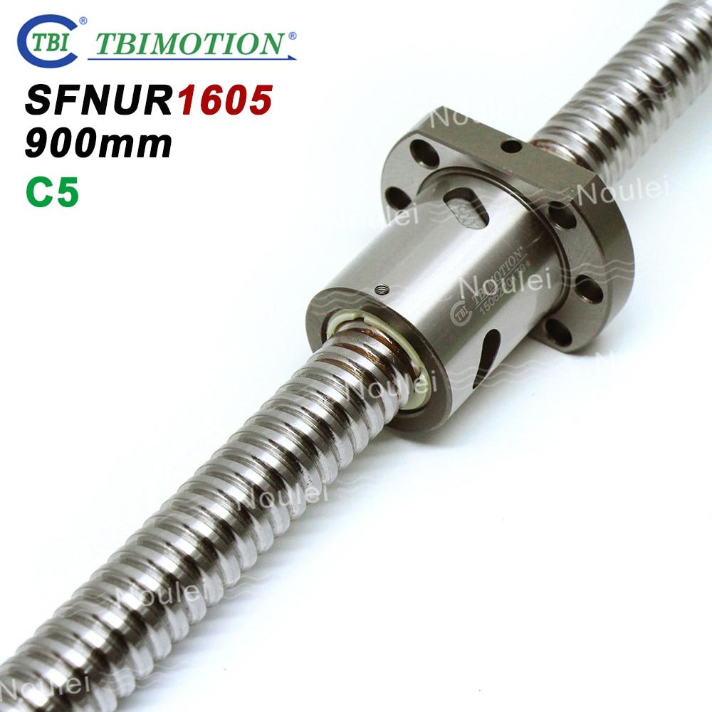Tornillo de bola TBI C5 Grind de alta precisión 1605 tornillo de bola 900mm con Anti contragolpe SFU1605 tuerca SFNU1605 900mm
