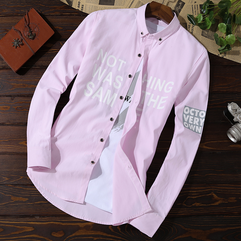 Long-sleeved shirt, spring and autumn leisure net, red-inch self-cultivation trend, handsome men's shirt 4