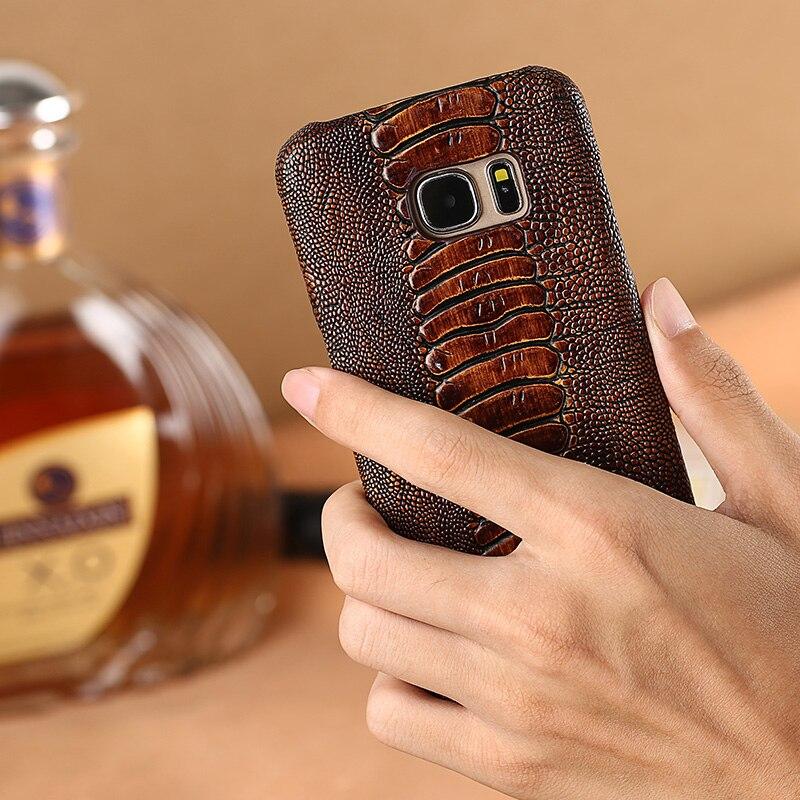 Peau de vache autruche pied texture téléphone étui pour samsung galaxy S7 coque de téléphone sur mesure en cuir véritable téléphone Mobile couverture arrière - 3