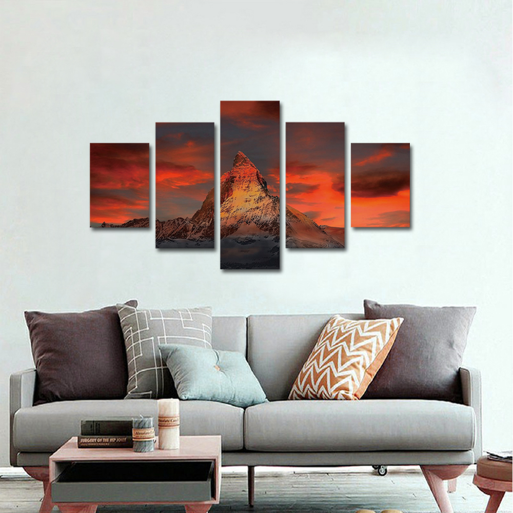 Unframed Canvas Painting Sunset Red Cloud Snow Mountain Landscape Photo Prints Wall Pictures For Living Room Wall Art Decoration