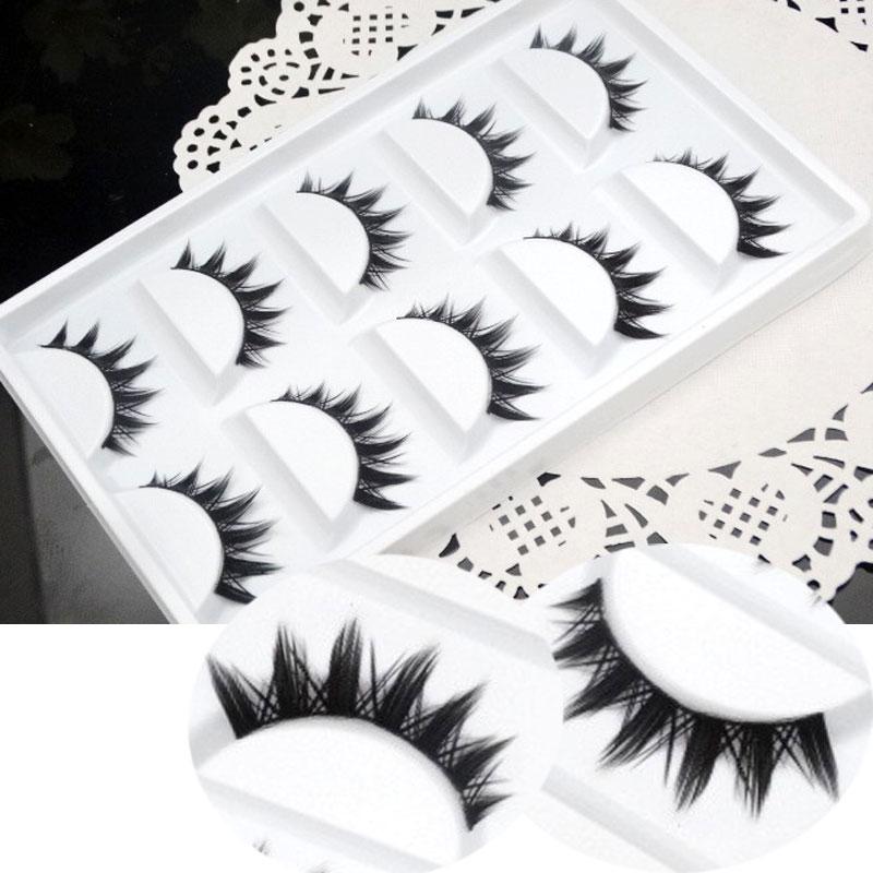 Makeup False Eyelashes Natural Crisscross Thick Soft Eyelashes 100% Handmade Cotton Stems Fake Eyelashes Fashion Stage Lashes