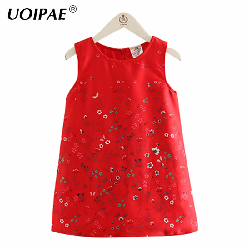 Princess Dress Girl 2018 Autumn Fashion Floral Printing Dress Girl Child Sleeveless O-neck Cute Solid Kids Clothes Girls B0648 2016 new girls clothes 100% cotton cute pink gray lace dress for the girl princess dress art bowknot sleeveless dress