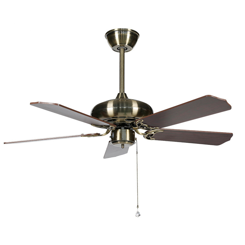 Us 119 86 Ky153 Modern Retro Home Ceiling Fan Light Quality Copper Motor Wood Leaf Positive And Negative Adjustment In Fans From