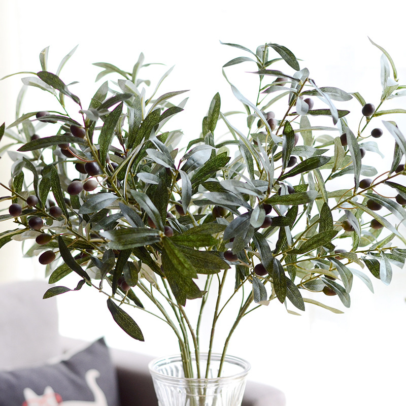 Us 20 03 10 Off Artificial Leaf Green Fruit Olive Branches Simulation Flower Plant Leaves Wedding Home Indoor Decorative Bouquet Diy Material In