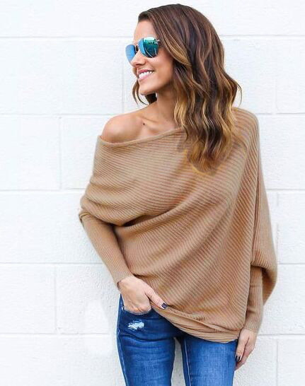 sweater women 2018 new Spring/Autumn/winter Fashion Sexy Dew shoulder long Batwing Sleeve knitting Sweater Solid  women clothing