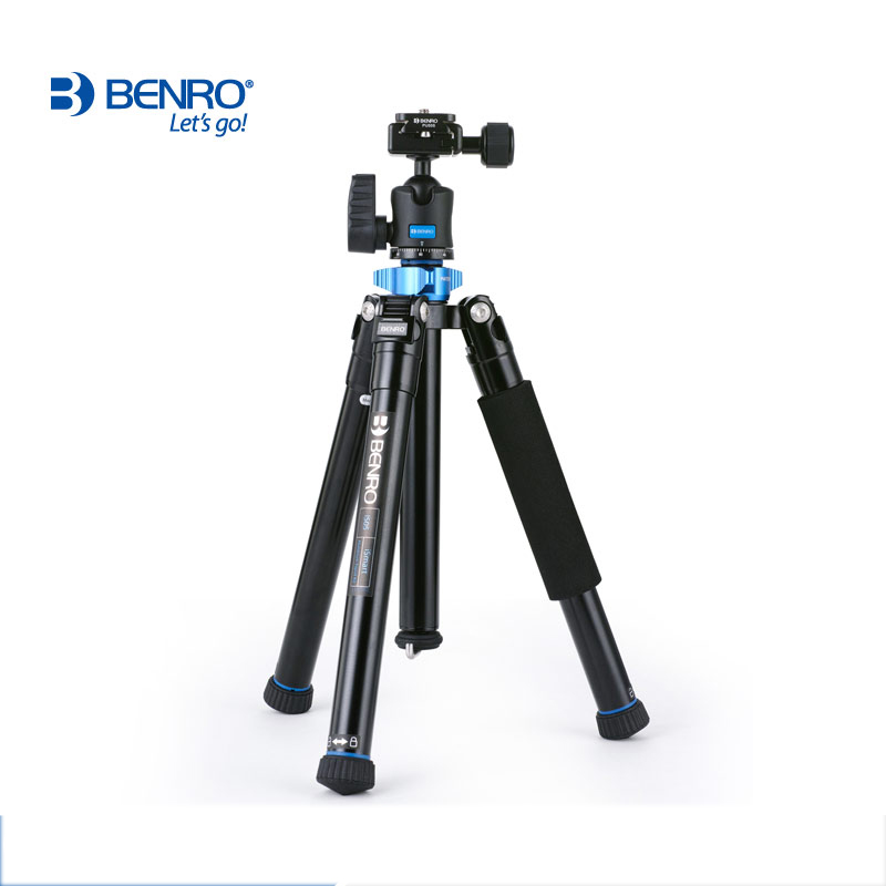 Oversea Stock Benro IS05 Aluminum Alloy Tripod Kit Center Column Can be Selfie Stick Monopod for Smartphones Mirrorless Cameras benro aluminum tripod 3 8 super strong impact resistance horizontal axis camera tripod multifunctional alloy tripod ga169t