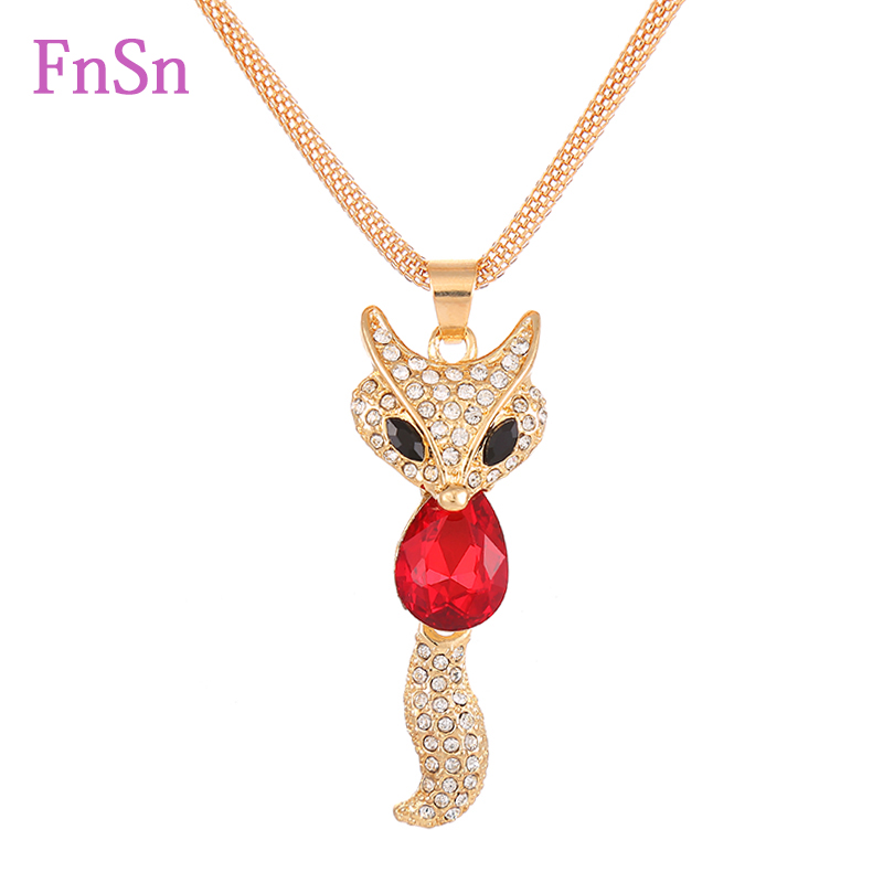 New Fashion Women Necklaces Trendy Zinc Alloy Animal Chain Long Necklaces Rhinestone Fox Necklace For Women Jewelry Hot Sale