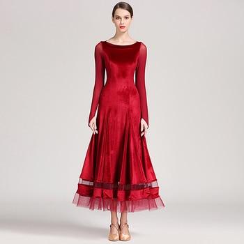 Lady Ballroom Dancing Dress Girls Warm Waltz Tango Dancing Costumes Velvet Modern Suits National Standard Dance Costume  D0746
