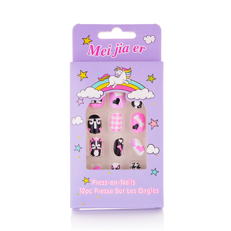 Free Shipping Children Cute Fake Nails New Pre glue Press ...