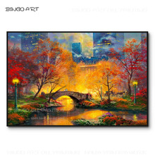 Artist Hand-painted High Quality Wonderful Landscape Central Park In the Fall Oil Painting Rich Colors Central Park Oil Painting все цены