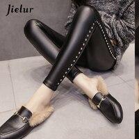 Jielur New Winter Fleece Matte PU Leather Leggings Women Fashion Rivets Push Up Pencil Pants 4